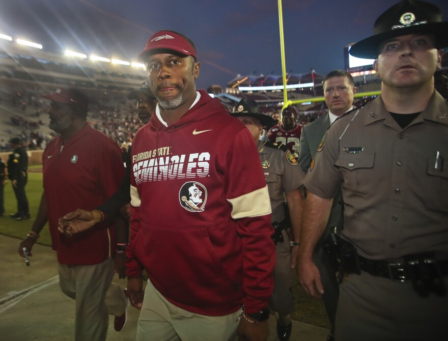 Florida State head coach Willie Taggart leaves after an NCAA college football game against Miami Saturday, Nov. 2, 2019, in Tallahassee, Fla. Florida State lost 27-10, and fired head coach Taggart Sunday.