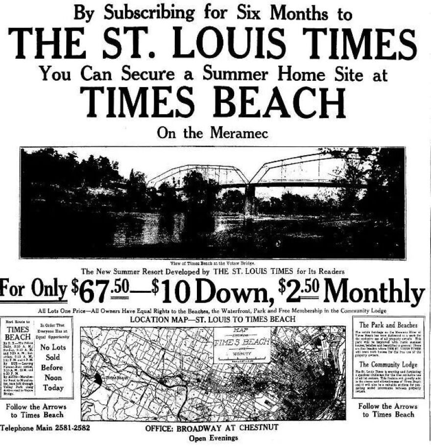 A copy of the promotion for Times Beach that was published in the St. Louis Times newspaper in 1925.