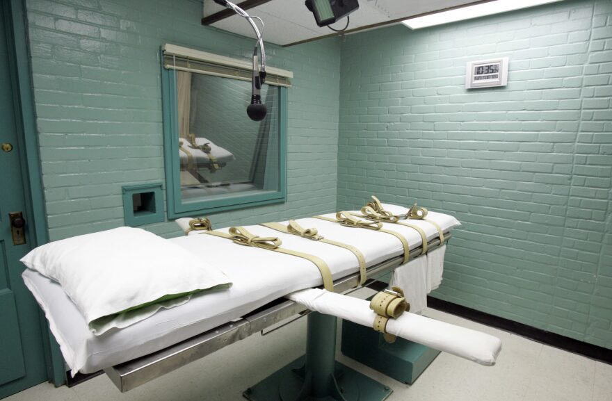 The gurney in the death chamber in Huntsville, Texas. (Pat Sullivan/AP)