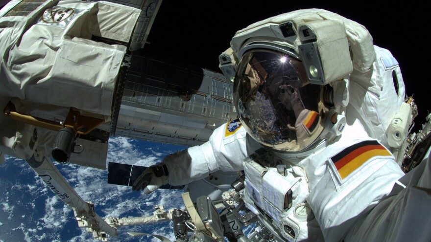 German astronaut Alexander Gerst makes a spacewalk aboard the International Space Station in 2014. All of Germany's 11 astronauts have been men.