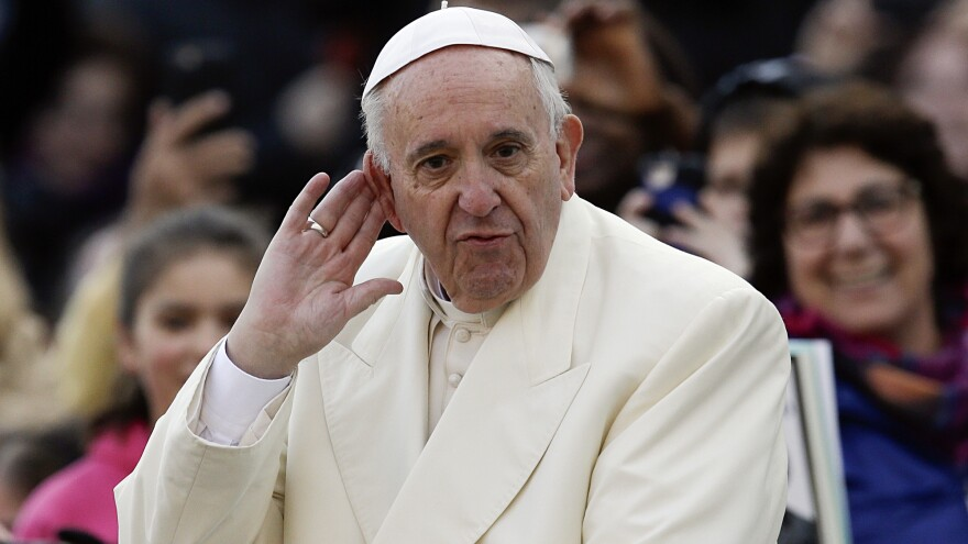 "Pope Francis, seen here listening to music in St. Peter's Square Wednesday, has said ""a rich complementarity"" exists between Jews and Catholics."