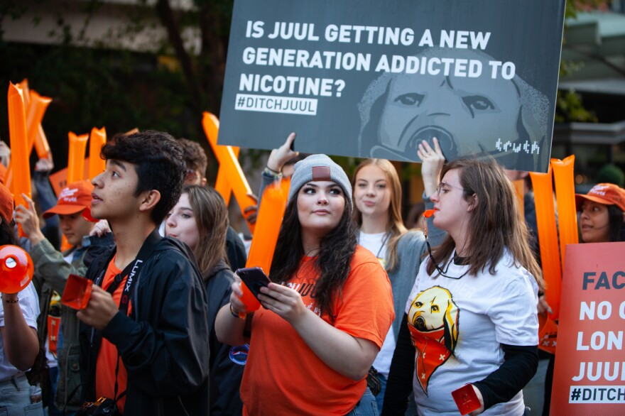 Piper Johnson and a group of other young activists and former vapers marched Wednesday morning to Juul's Washington, D.C., offices on F Street.