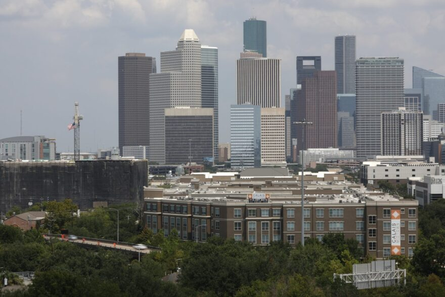 The downtown skyline is pictured on in Houston, Texas.