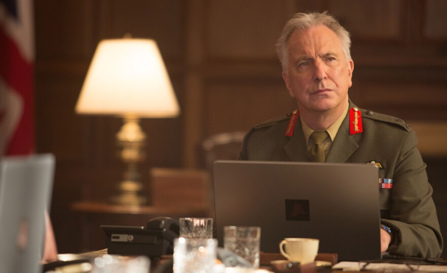Alan Rickman plays Gen. Benson, Col. Powell's commanding officer in <em>Eye in the Sky.</em> Rickman died in January at age 69.