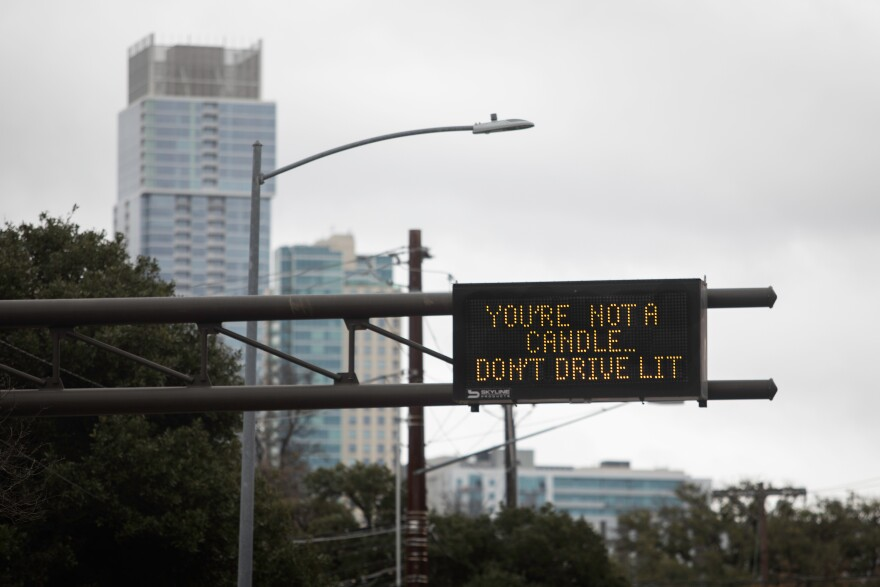 """A road sign says: """"You're not a candle...Don't drive lit."""""""
