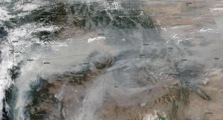 Satellite image showing smoke from fires on the west coast blanketing Montana, Sept. 15, 2020.