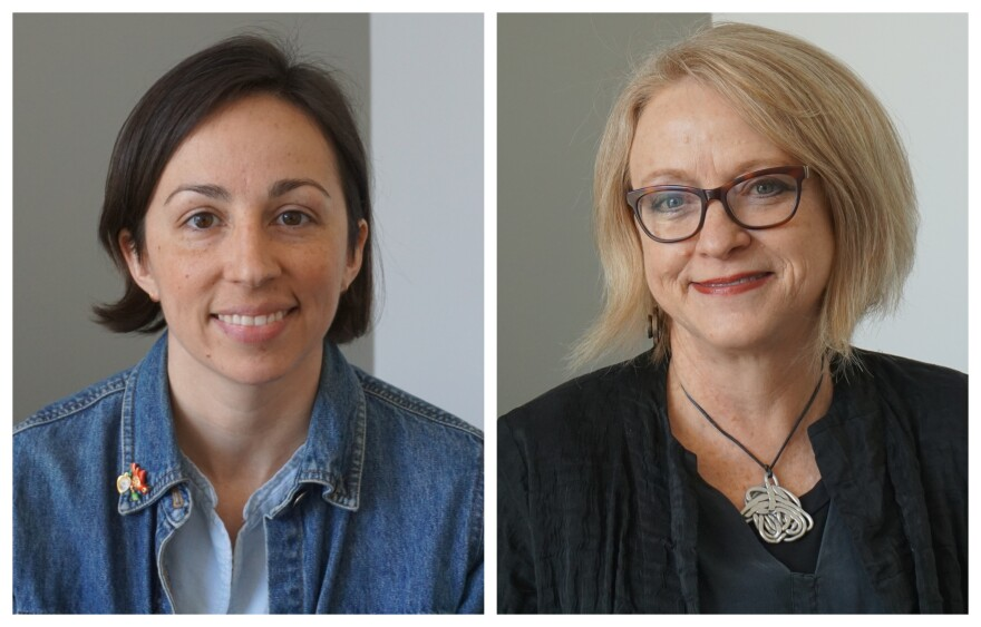 """(Feb. 14, 2019) Jenny Murphy (left) and Mary Ruppert-Stroescu joined Thursday's """"St. Louis on the Air"""" to discuss how people can become more become more conscious consumers to alleviate some of the harmful effects of fast fashion."""