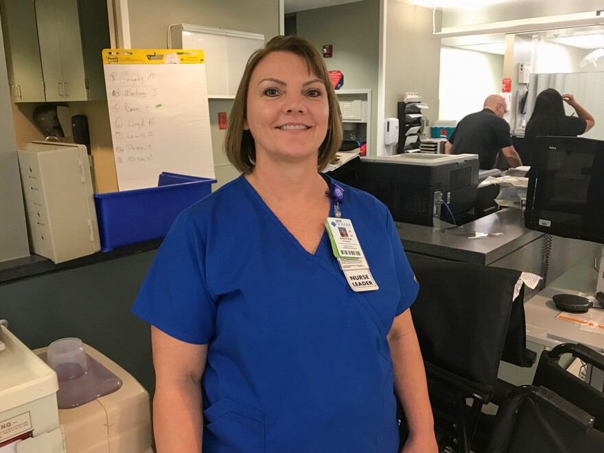 Kristen Benjamin, associate chief nursing officer at St. Joseph Medical Center, says many employees hadn't been home to see if their houses were flooded.