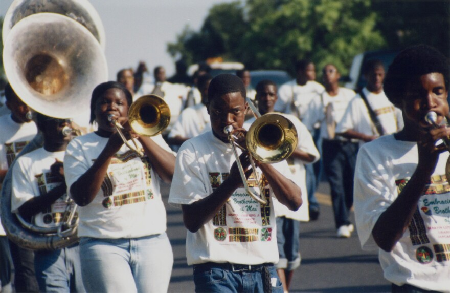 A marching band performs at the Juneteenth Parade in June 2007.