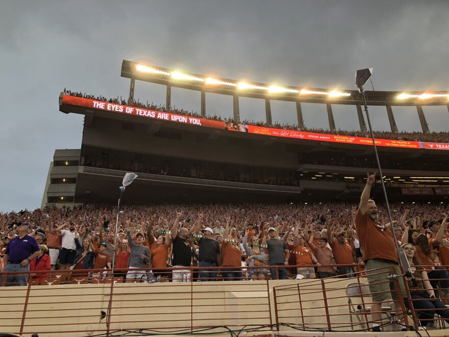 """The Eyes of Texas"" is dispayed at the University of Texas football stadium in 2018."