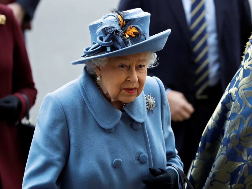 Britain's Queen Elizabeth II arrives to attend the annual Commonwealth Day service at Westminster Abbey in London on March 9. In a rare address to the nation on Sunday, the queen plans to exhort Britons to rise to the challenge of the coronavirus pandemic.