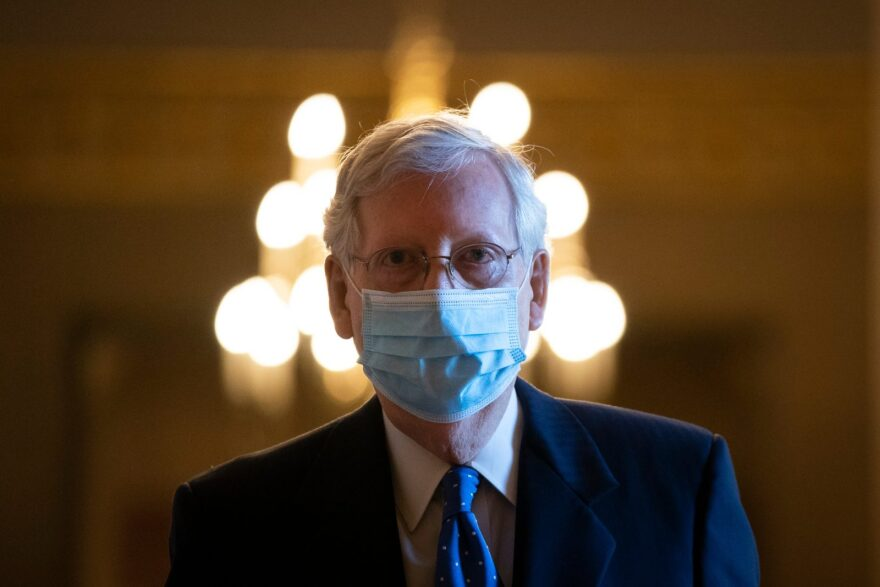 Senate Majority Leader Mitch McConnell (R-KY) leaves his office and walks to the Senate floor at the U.S. Capitol on in Washington, DC.