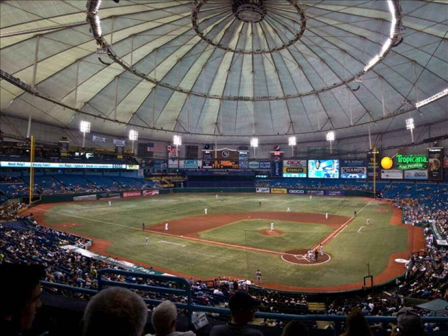crowd in stands at Tropicana Field