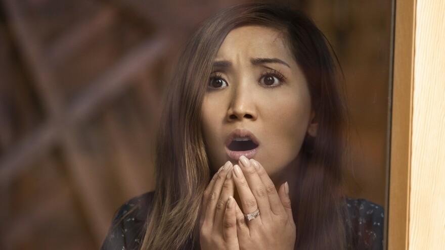 Brenda Song makes this face quite a lot in Netflix's <em>Secret Obsession</em>.