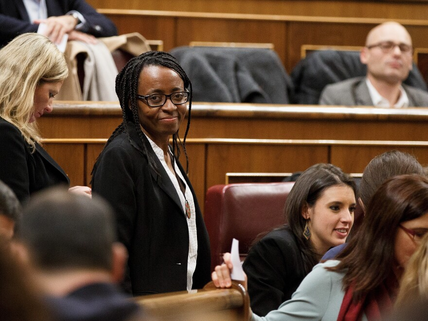 Rita Bosaho, shown here in January, is the first black member elected to Spain's parliament. Born in Equatorial Guinea and raised in a foster family in Spain, she trained as a nurse before entering politics two years ago.