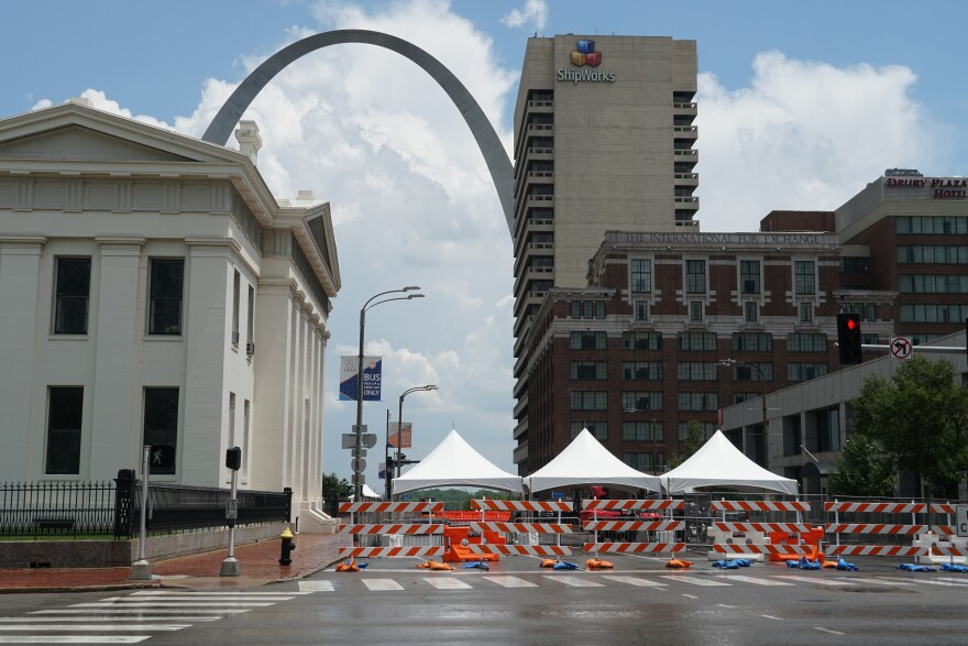 Parts of Fair St. Louis moved up from the riverfront after flooding left Leonor K. Sullivan Boulevard underwater. The expo portion will now be near the Old Courthouse. June 2 2019