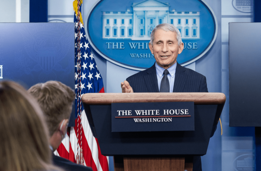 Anthony Fauci participates in a briefing Thursday, Jan. 21, 2021 at the White House.