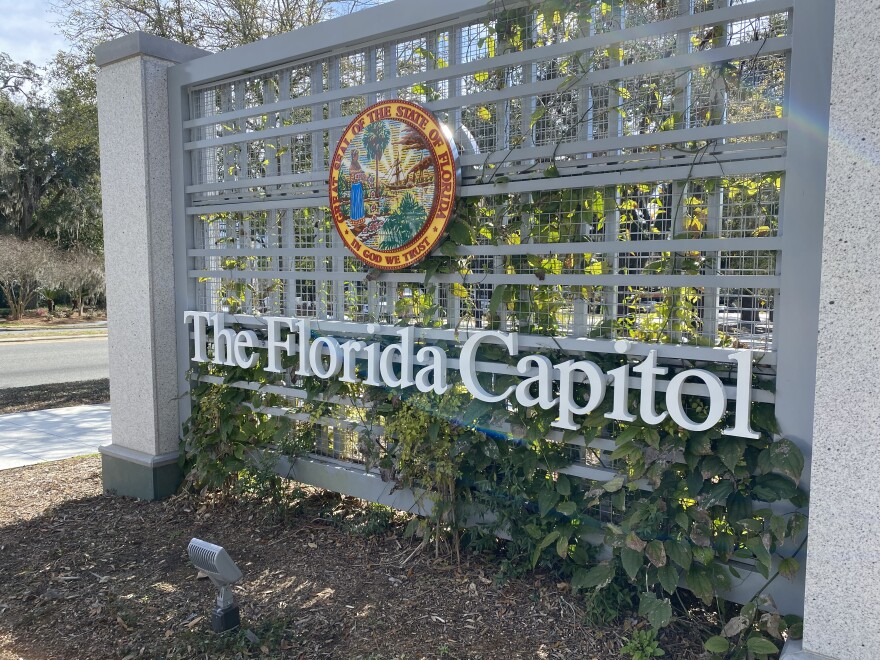 New signage greets visitors to the Florida capitol complex.