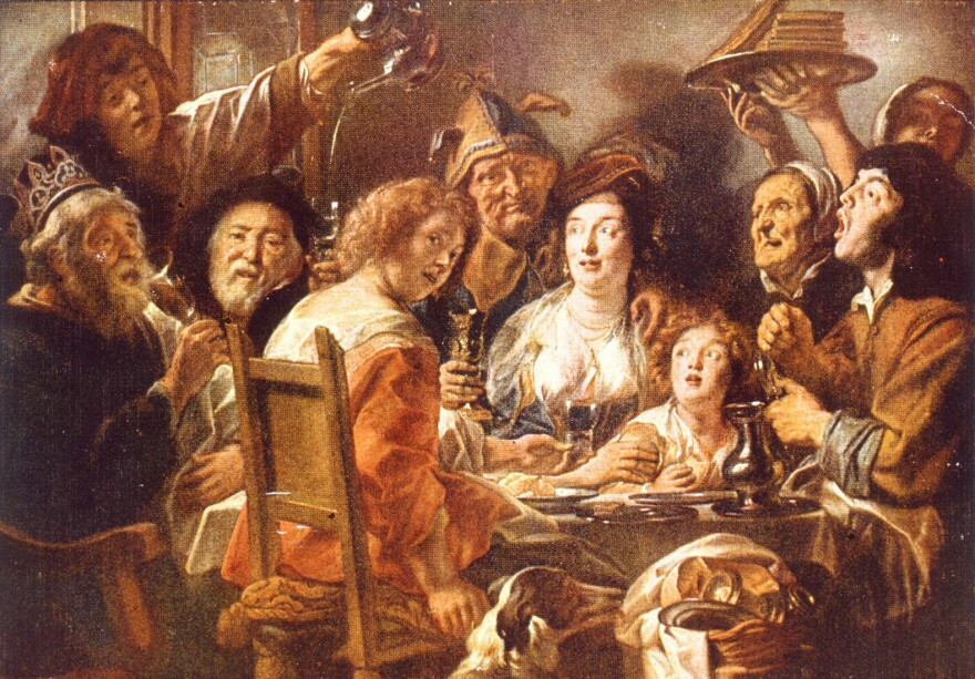 <em>The King Drinks,</em> by the 17th century artist Jacob Jordaens, illustrates a feasting scene from William Shakespeare's <em>Twelfth Night. </em>The Shakespearean larder teems with intriguing-sounding food.