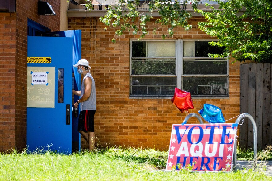 Travis County residents vote at Joslin Elementary School in South Austin during the primary runoff elections on July 14.