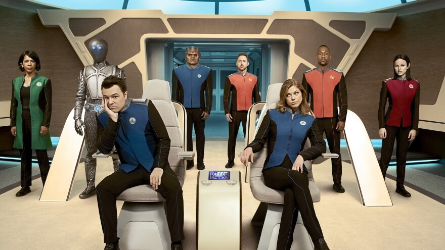 Where No One Has Gone Before, For Good Reason: (L-R): Penny Johnson Jerald, Mark Jackson, Seth MacFarlane, Peter Macon, Scott Grimes, Adrianne Palicki, J. Lee and Halston Sage star in <em>The Orville</em>.