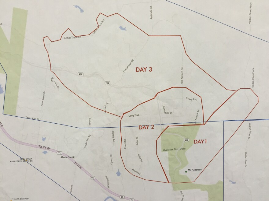 A map showing the areas affected by the fire in Bastrop County, which is in its third day as of Thursday.