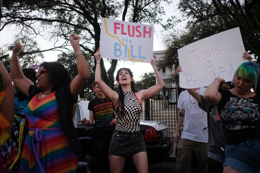 Demonstrators rally outside the governor's mansion in 2017, in opposition to Senate Bill 6, which would require transgender people to use the bathroom that corresponds to the sex they were assigned at birth.