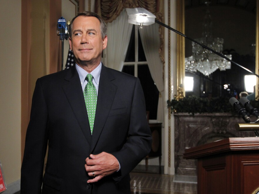 Speaker of the House John Boehner is seen after delivering his response to President Obama's remarks about averting default and dealing with the federal deficit, at the Capitol in Washington, Monday, July 25, 2011.