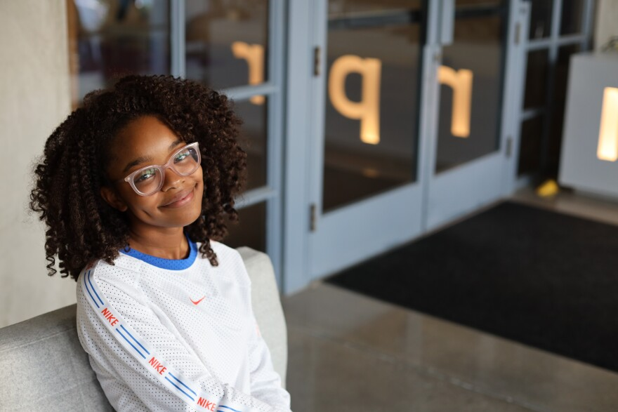 Marsai Martin poses for a photo upon visiting the NPR bureau in Culver City, Calif. for an interview.
