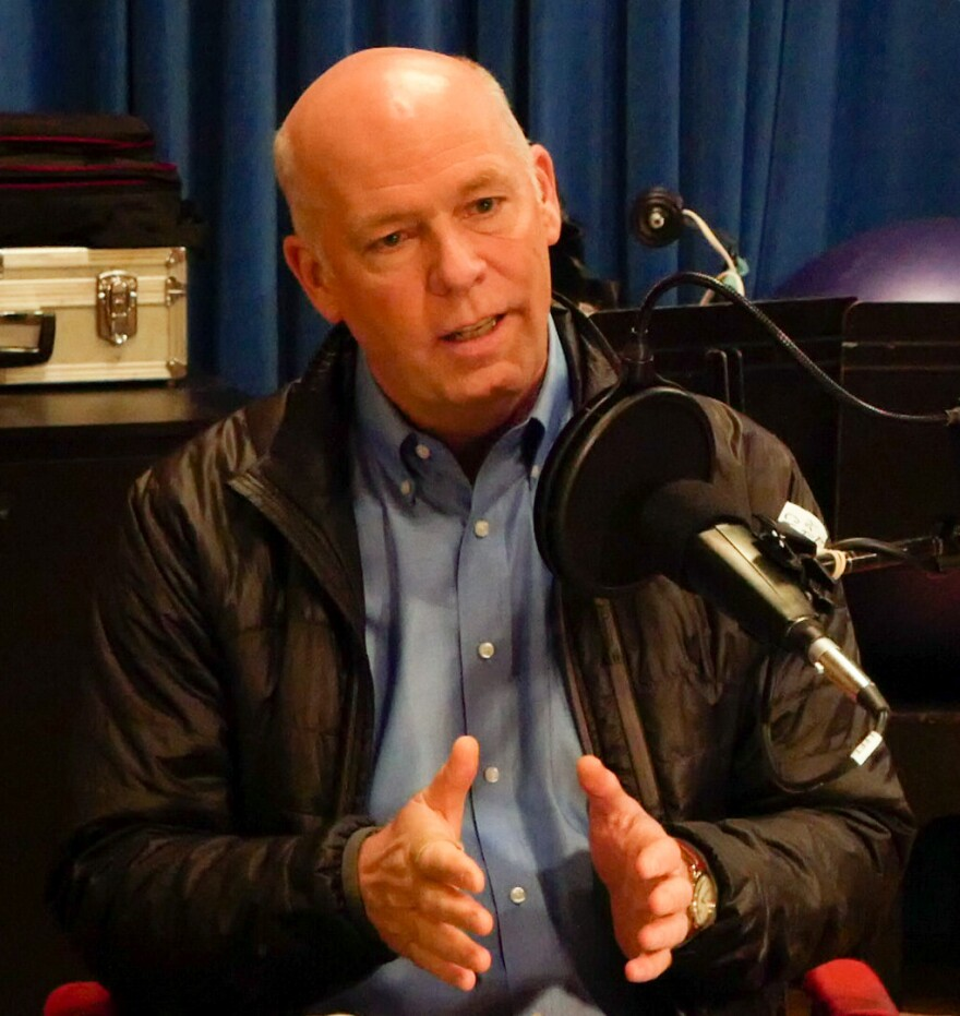 U.S. House candidate Greg Gianforte speaks with Sally Mauk during an April 14 interview at MTPR.