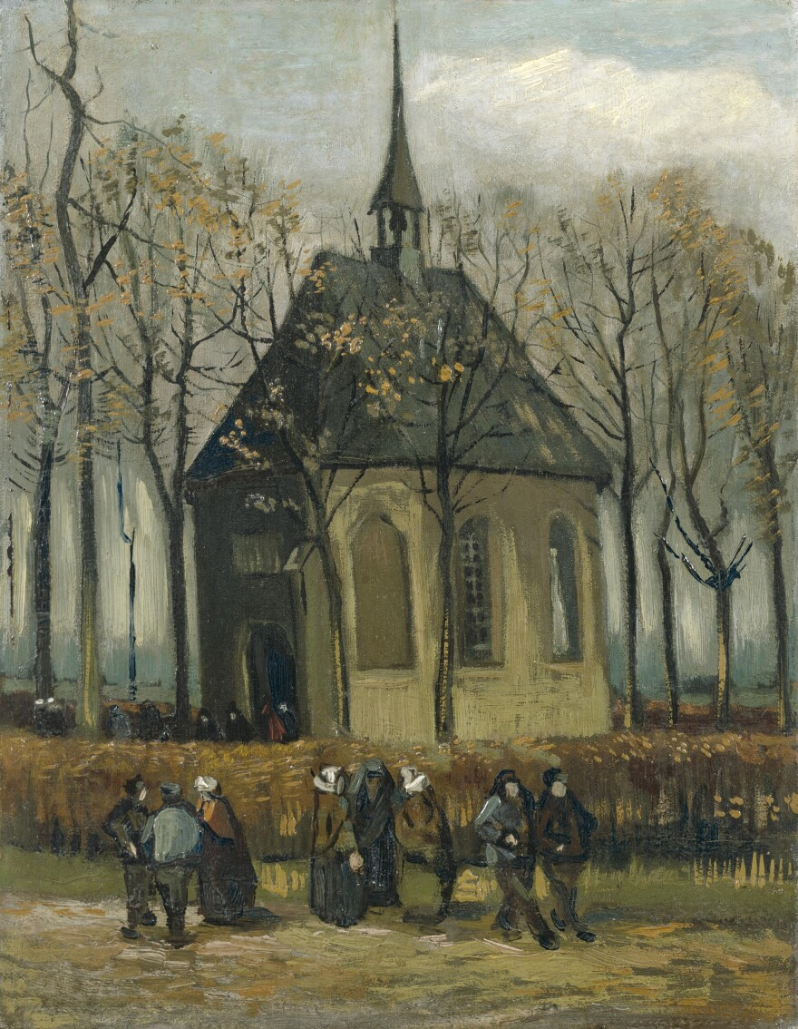 Van Gogh's <em>Congregation Leaving the Reformed Church in Nuenen</em>, 1884-1885, was one of two paintings recovered by Italian anti-mafia police, the Van Gogh Museum announced Friday.