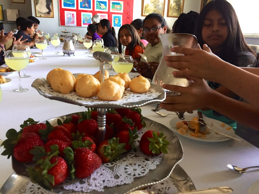 Fifth graders enjoy high tea at South Grade Elementary in Lake Worth on May 22, 2017.