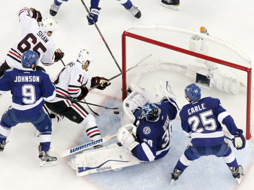 The Lightning and Blackhawks battle in the Tampa Bay crease during Game 5 on Saturday, with Chicago eventually winning and taking a three games to two lead in the Stanley Cup Final. Game 6 is Monday night in Chicago.