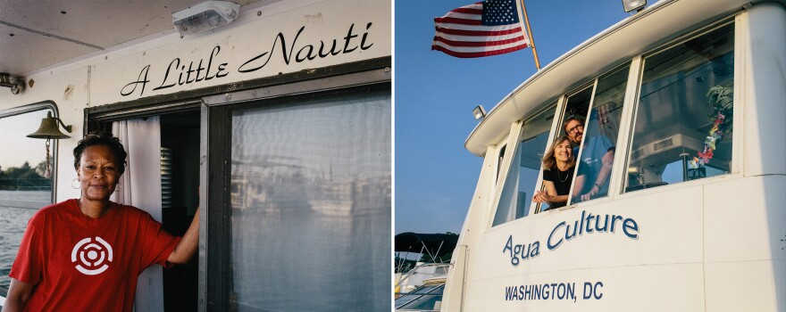 """Left: Kim Curry aboard her boat, <em>A Little Nauti</em>. """"I searched for a name that was kind of whimsical and would make me smile,"""" she says. """"I'm not really very naughty but just a little nauti!"""" Curry moved to Gangplank in 2014. Right: Jeanie and Gary Blumenthal, both 63, aboard Agua Culture, named for Gary's job in agriculture and their love of the culture at the marina."""