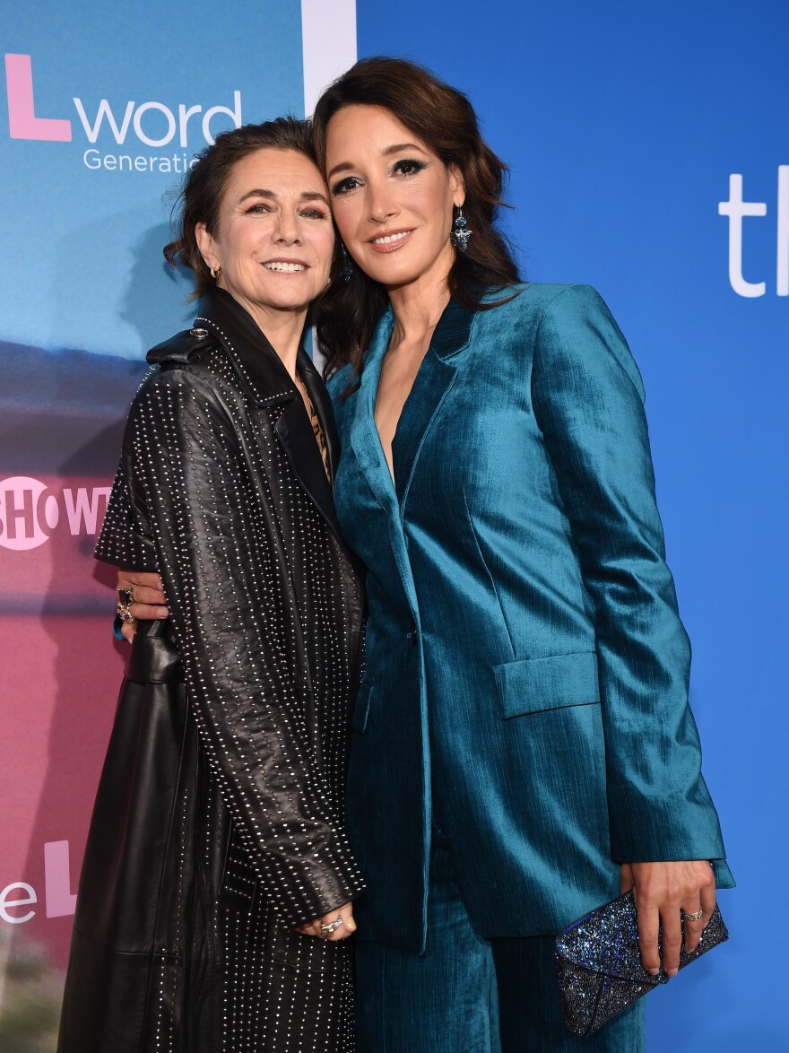 Ilene Chaiken (left) and Jennifer Beals attend the Season 1 premiere of <em>The L Word: Generation Q</em>.