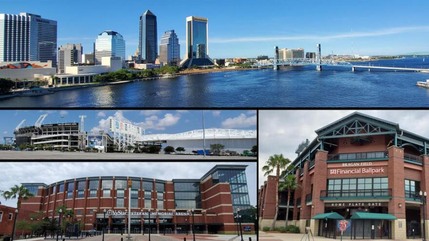 Jacksonville's Downtown Northbank skyline is pictured along with TIAA Bank Field, Daily's Place, VyStar Veteran's Memorial Arena and 121 Financial Field. The venues had been scheduled to host portions of the RNC.