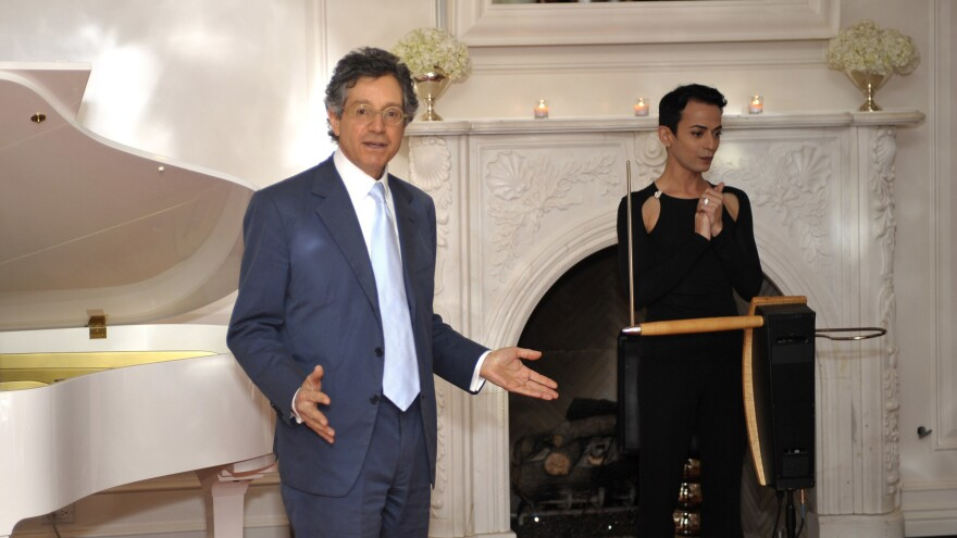 Art curator and dealer Jeffrey Deitch, left, with Armen Ra at a cocktail reception on Nov. 4, 2010 in Beverly Hills.