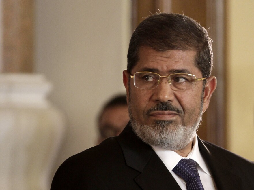 Egyptian President Mohammed Morsi, shown here in 2012, has died, according to Egyptian state television.
