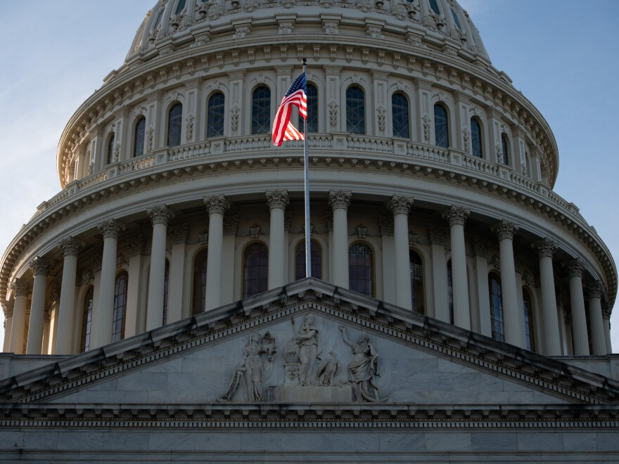 A U.S. flag flies outside the Capitol building in Washington, D.C., on Jan. 7.