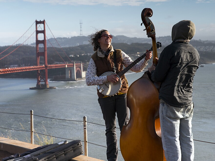 Sharon Martinson plays with bassist Roger Sideman. Martinson has toured across the country.