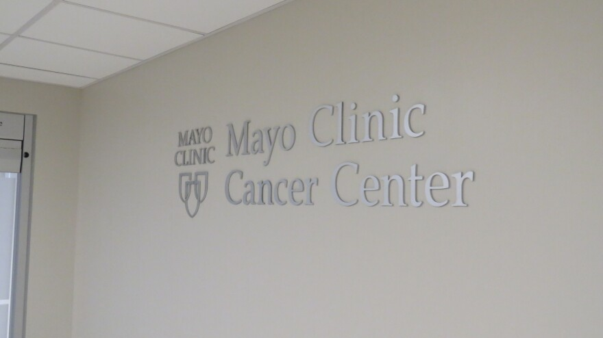 A sign at the Mayo Clinic Cancer Center