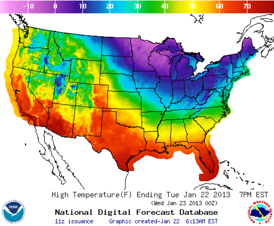 Those deep blues and purples are where it's going to be really cold today.