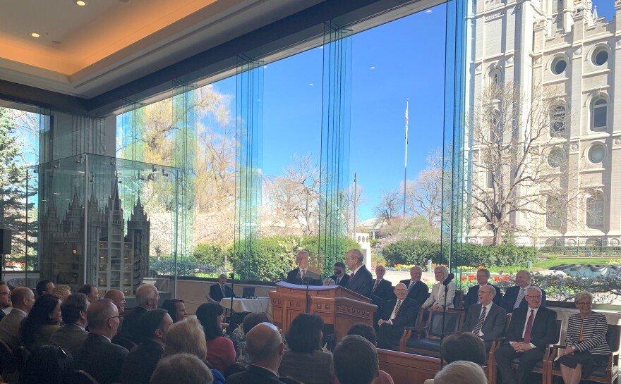 Photo of LDS Church press conference.