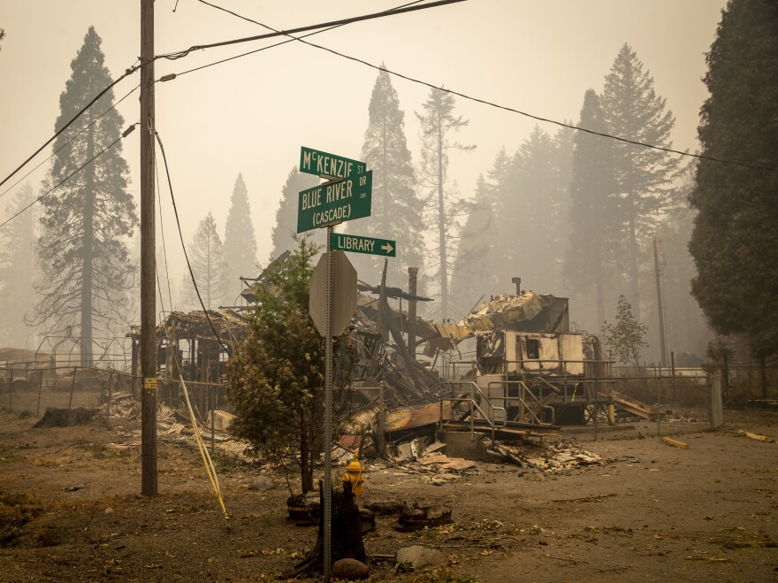 Blue River, Ore., lies in ruin on Sept. 15, 2020, just eight days after the Holiday Farm Fire swept through its business district.