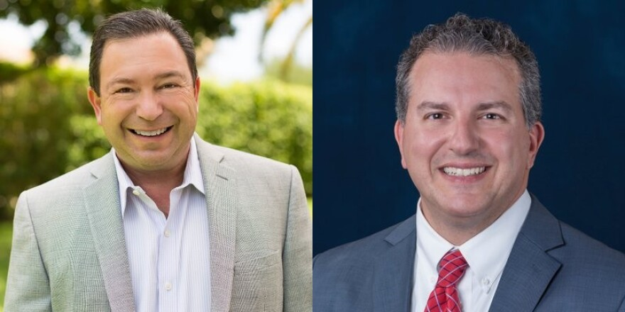 Democrat Jeremy Ring (left) and Republican Jimmy Patronis (right), candidates for Florida Chief Financial Officer.