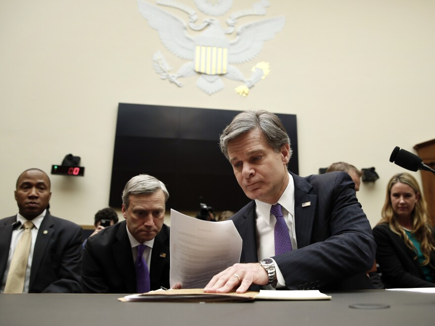 FBI Director Christopher Wray arrives to testify during a House Judiciary Committee hearing in Washington, D.C. Thursday.