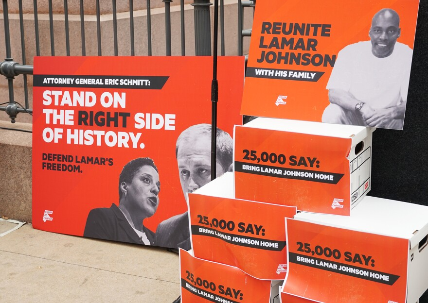 Boxes of petitions delivered by supporters of Lamar Johnson outside the Old Post Office on Dec. 10, 2019.