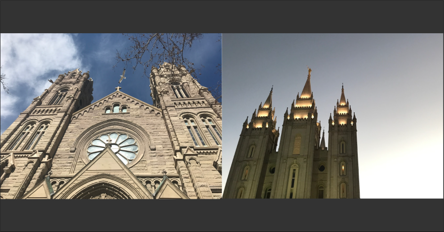 Photo of the LDS Temple and the Cathedral of the Madeleine in Salt Lake City