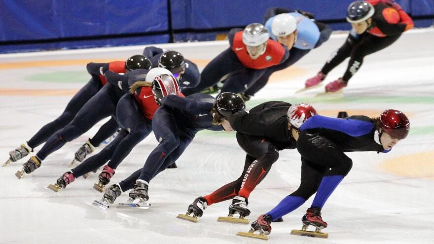 Speedskaters practiced for the U.S. Single Distance Short Track Speedskating Championships in Kearns, Utah, last year.