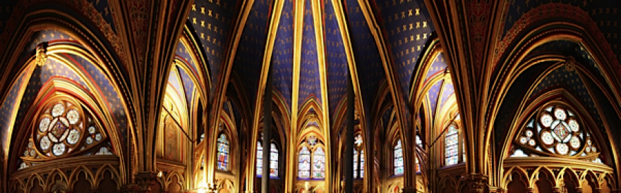 Looking up at the Sainte-Chapelle in Paris, France.